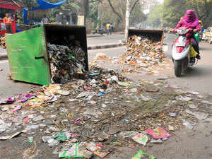 Sweepers dumped garbage on all the major roads in east Delhi, hindering traffic and filling the air with a stench.