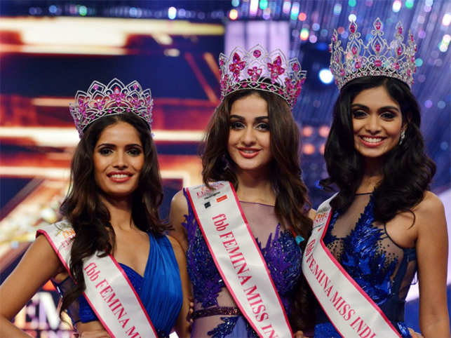 Aditi (C) will represent the country at Miss World pageant and the runners-up. Afreen and Vartika will compete for various international titles.