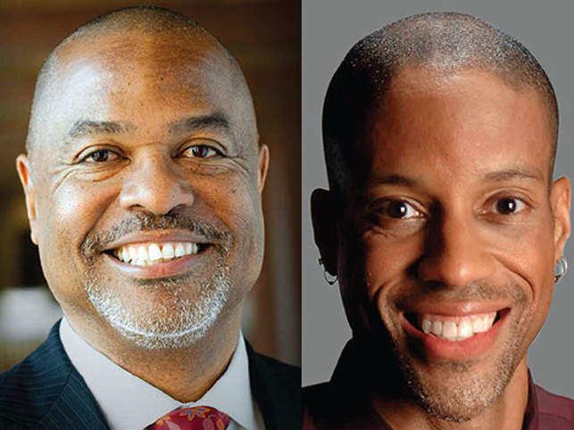 From left (in photo): Kenneth LShropshire (Wharton professor of legalstudies & business ethics and directorof the Wharton Sports Business Initiative)&AmericusReed (Wharton marketing professor).