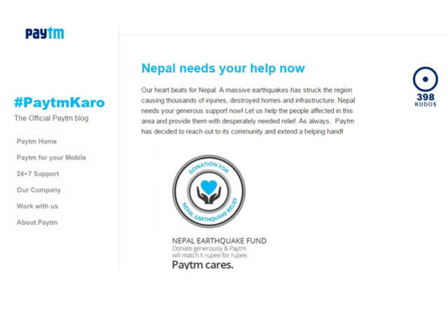 Paytm - How tech companies are helping earthquake-hit Nepal