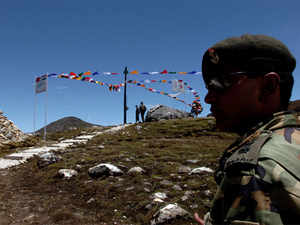 An Indian Army major guarding Indian post at Indo-China border area in Bumla, Arunachal Pradesh.