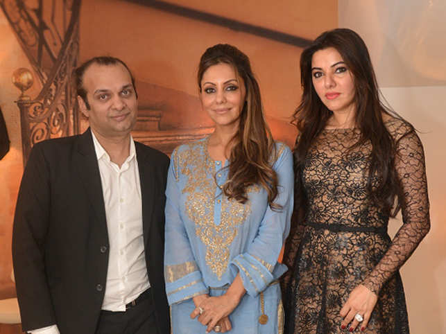 Raj Anand, Gauri Khan and Kaykasshan Patel hosted a champagne high tea at Khan's new work space in Khar and gave a sneak peek into their collection.