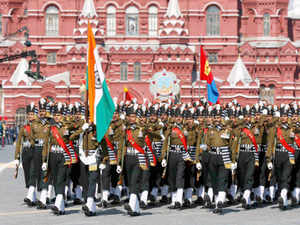 With their decorative 'safa' and handlebar moustache, the Indian army men of Grenadiers became the cynosure of the parade.In Pic: Indian Army servicemen march during the Victory Day parade at Red Square in Moscow.