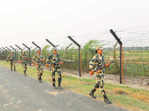 BSF women personnel patrolling along the IndoBangla border in the North 24 Parganas district of West Bengal.