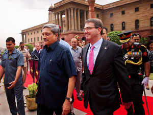 Defence Minister Manohar Parrikar with US Secretary of Defence Ashton Carter at South Block in New Delhi on June 3, 2015.
