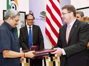The agreement, which focuses on issues ranging from maritime security, aircraft carrier to jet engine technology cooperation, was inked by Manohar Parrikar and Ashton Carter.