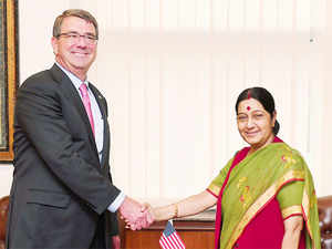 US Defense Secretary Ashton Carter with Sushma Swaraj during his India visit.