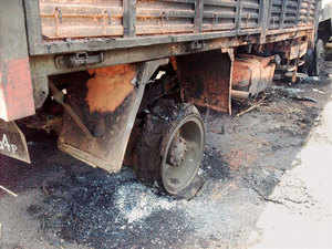 A charred army vehicle at ambush site in Chandel district of Manipur where least 17 soldiers were killed by the militants.
