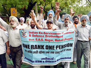 Ex-servicemen shouts slogan during their protest over the delay in implementation of 'One Rank, One Pension' (OROP) at Jantar Mantar in New Delhi.