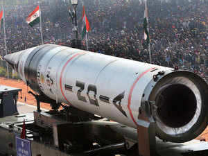 A file photo of AGNI-V missile taking part in the 64th Republic Day parade at Rajpath in New Delhi.