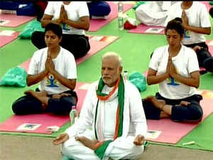 "Talking about the importance of doing Yoga, PM Modi said, ""Yoga is not just about making the human body flexible. Yoga helps in leading both a stress free and healthier life."""
