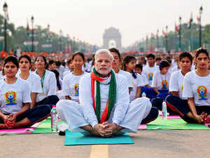 PM Modi todayled the celebrations in the country, defining yoga as a means to train the human mind to begin a new era of peace and harmony.