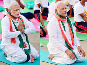 Special arrangements were put in place to secure the Prime Minister, who practised most of the 21 'asanas' sitting with other participants.