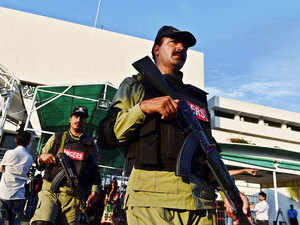 A file photo of Pakistani Rangers stand guard outside the parliament building in Islamabad, Pakistan on June 5, 2015.
