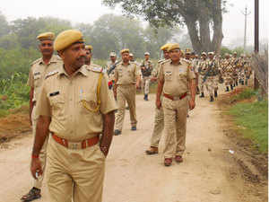 A pic of Rajasthan Police flag marching at Weir consituency, Bharatpur district, Rajasthan on September 13, 2014.
