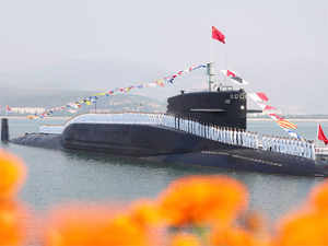 File photo: Sailors line up on a Chinese nuclear submarine at the Qingdao submarine base in east China's Shandong province.