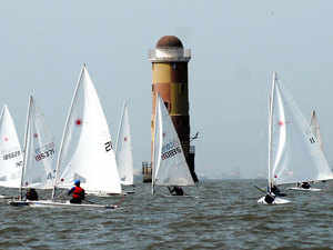 In pic: The Ocean blue Laser Coastal National Sailing Championship 2011 at the Indian Naval Watermanship training centre.