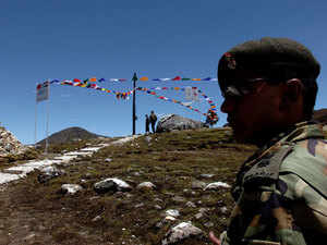 In pic: An Army major guarding Indian post at Indo-China border area in Bumla, Arunachal Pradesh a 15,500-ft high mountain pass on the Mcmahon Line.