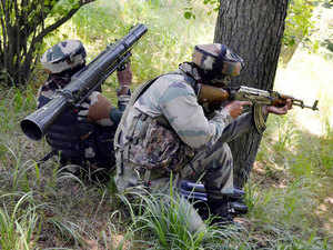 File photo: Army personnel take positions during an encounter with militants near the Line of Control in Uri sector of north Kashmir on July 3, 2015.