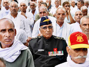 In pic: Ex-servicemen during their protest over the delay in implementation of 'One Rank, One Pension' (OROP) at Jantar Mantar in New Delhi on June 14, 2015.
