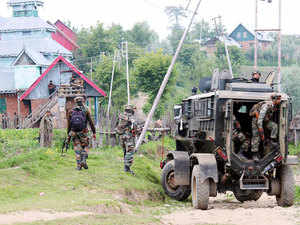 In pic: Security forces conduct search operation against the militants after some presence of militants Kashmir's Shopian district on July 5, 2015.