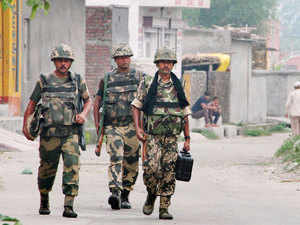 In pic: BSF jawans after the ceasefire violation from Pakistan side in Pargwal village in Akhnoor district, Jammu on July 15, 2015.
