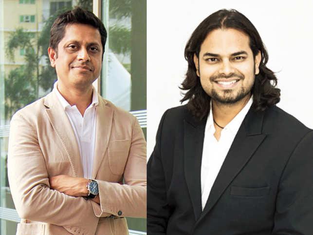 (L) Mukesh Bansal, founder, Myntra and designerRahul Mishra.