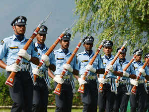In pic: IAF Personnel take part in a drill during an Indian Air Force event in Srinagar on July 15, 2015.