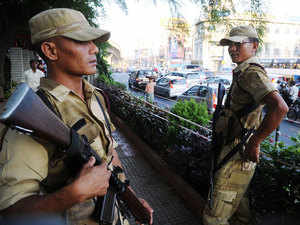File photo: IRB battalion from Nagaland guarding after bomb blast in city on April 20, 2014.