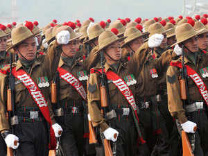 File photo: Army soldiers march during the Army Day parade in New Delhi on January 1, 2013.