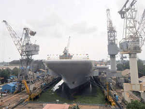 In pic: India's first indigenous aircraft carrier (IAC) INS Vikrant for the Indian Navy ,at the Cochin Shipyard dock yard on May 30, 2015.