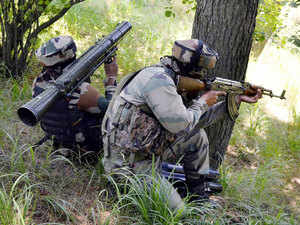 At least two soldiers were injured in a gunfight with infiltrating militants near the Line of Control in Tangdhar sector of Kashmir, Army officials said.