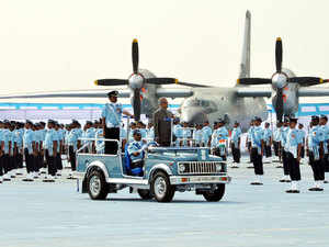 In pic: President Pranab Mukherjee addressed Airforce personnel to award Presidents Standard recognition at Sulur Air Force Station, Coimbatore on Dec 12, 2012.
