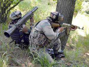 Two militants were killed and two soldiers injured in a gunfight near the Line of Control in  Karnah area of Tangdhar sector in Kashmir, army officials.