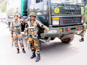 In pic: Army and police personnel during an encounter with militants who attacked a police station at Dinanagar in Gurdaspur, Punjab on July 27, 2015.