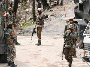 File photo: Army jawans rush towards encounter site at Hardu -Shoora Tangmarg Baramulla district North Kashmir Thursday 02, April 2015.