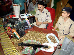 File photo: Huge haul of arms including bullets, explosives, and timer circuit devices, which were seized by the Patna Police from Maoists' den on October 11, 2010.