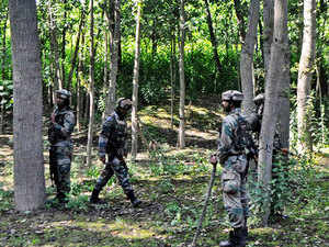 In pic: Army solders near the encounter site in South Kashmir's Kulgam, where security forces gunned down two militants on Monday 22 June 2015.