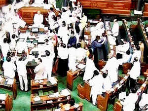 congress protests force rajya sabha to adjourn twice the economic