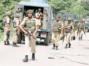 Security forces during a terrorist attack on a convoy of Border Security Force (BSF) on the Jammu-Srinagar National Highway in Udhampur district of Jammu and Kashmir.