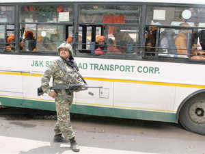 In pic: Tight security for Amarnath pilgrims after terrorist attack on a BSF convoy on the Jammu-Srinagar national highway in Udhampur.