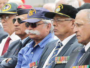 In pic: EX-servicemen protesting against the inordinate delay in grant of One Rank One Pension.
