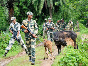 In pic: Border Security Force (BSF) personnel patrol near the unfenced India Bangladesh border at Durgapur, 56 kms south of Agartala on July 22, 2015.