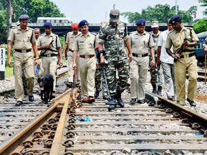 In pic: Security forces with sniffer dog and metal detectors conduct search operation at Guwahati Railway Station on August 10, 2015 ahead of Independence Day.