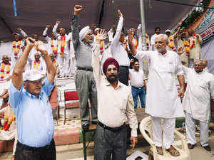 In pic: Ex-servicemen shout slogans during their agitation for 'One Rank One Pension' at Jantar Mantar in New Delhi.
