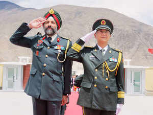In pic: Brigadier JKS Virk of India and Senior Colonel Chen Zheng Shan of PLA at the Ceremonial Border Personnel Meetings (BPMs) at Daulat Beg Oldie in Ladakh.
