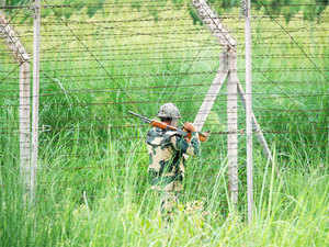 (In pic) An Indian Border Security Force (BSF) soldier patrols along the Pargwal area of India-Pakistan international border in Akhnoor, Jammu and Kashmir.