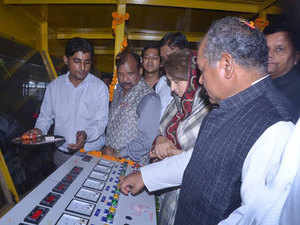 Steel minister Narendra Singh Tomar inauguarating a processing unit in Madhya Pradesh.