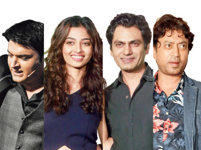 There is a rising trend of brands looking for unconventional, real and relatable endorsers creating an increasing demand for Irrfan Khan (right),NawazuddinSiddiqui (2nd right), Kapil Sharma (left) and Radhika Apte among others.