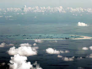 File photo: Aerial photo of China's alleged on-going reclamation of Mischief Reef in the Spratly Islands in the South China Sea